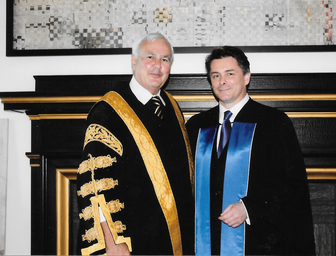 Hon. David Peterson, Chancellor of UofT welcomes Robert Fotheringham as a Convocation Guest Speaker